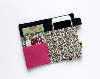 iPhone 7 wallet Womans Wallet purple Woman gift iPhone 6 plus wallet eggplant wallet phone clutch two cell phone wallets girl teen gift