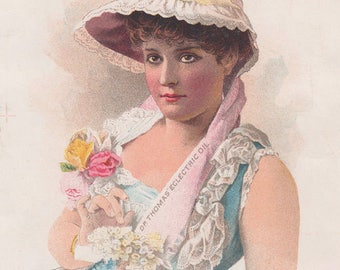 Dr. Thomas Eclectric Oil Lady In A Blue Dress And Bonnet Victorian Trade Card