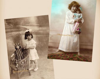 Art Deco Girl With A Doll - 2 New 4x6 Vintage Postcard Image Photo Prints GD07-24