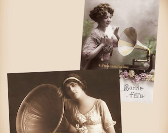 Lady With A Gramophone - 2 New 4x6 Vintage Card Image Photo Prints - LE86 LE153