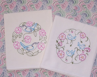 Embroidered Set of Birds and Flowers Flour Sack Towels Set of 2