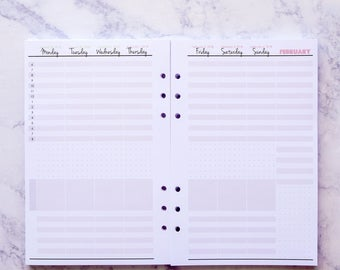 2018 Planner Inserts, Dated Weekly Inserts, A5 Filofax Inserts, Vertical Inserts Structured, Week on 2 Pages, Planner Refill, W439S