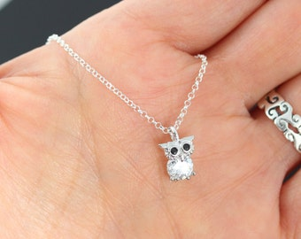 Owl Necklace. Silver Owl- Small Owl Necklace- Cubic Zirconia Sparkle tommy, Owl charm necklace, Owl Pendant. Graduation Gift . Lawyer, Nurse