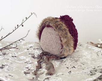 Newborn Girl Hat. Baby Bonnet. Newborn Bonnet. Baby Hat. Eskimo Crochet Pixie Hat. Fur Trim Hat. Christmas / Winter Photo Prop. UK SELLER