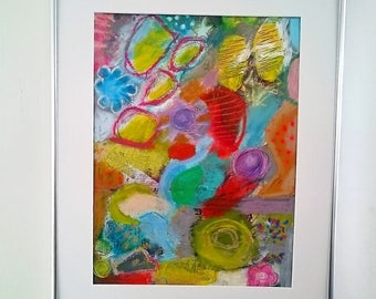 Original, abstract mixedmedia painting, acrylic,contemporary art, colourful