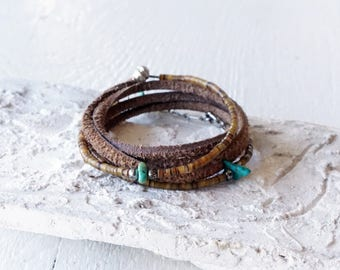 Turquoise and Leather Wrap Bracelet/Natural Stone and Leather Jewelry/Boho Turquoise Wrap/Western/Southwestern/Shell/Earthy/Hippie/Indie