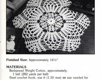 "Vintage Crochet Pattern ""Royal Flash"" - from Leisure Arts 'Elegant Crocheted Doilies' Leaflet No 972"