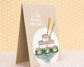 Funny Cute Watercolor Sushi Pun Card - Handcrafted, any occasion