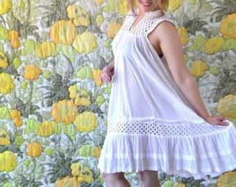 Honey Pie - white peasant dress - white frock - white tent dress  -boho  70s hippie dress - white 70s peasant dress - sheer white sundress