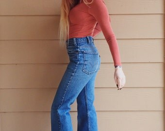 RARE 70's Levi's Orange Tab Super Flare Hippie Boho Jeans // Women's size 25 26