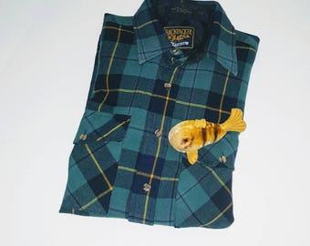 Vintage 80s 90s plaid shirt flannel / button up down woodland / Grunge flap pockets / work wear board ... L 16 16.5 Chest 46