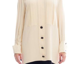 1980s Karl Lagerfeld Silk Shirt Dress Size: XL