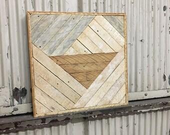 """Reclaimed Lath Wood Wall Art 16""""x16"""" Natural Wood Patina"""