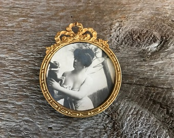 Antique French Gilt Picture Frame, Small Miniature Ormolu Photo Portrait Frame, French Ribbon Bow, Victorian Era