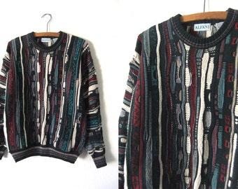 Alfani Textured Hip Hop Jumper - Biggie Smalls 90s Coogi Style Baggy Vintage Sweater - Mens Small