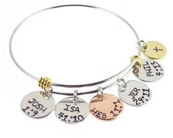 Spiritual Gangsta - Scripture Christian Charm Bangle - Bible Verse Charm Bangle - Hand Stamped Spiritual Gangster - Baptism Gifts