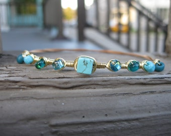 Turquoise Guitar String Bracelet / Turquoise Stacking Bracelet / Gift for Her / Gift for Musician