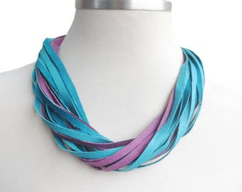 Turquoise Lilac Leather Bib Necklace, Multistrand Summer Necklace, Everyday Leather Jewelry