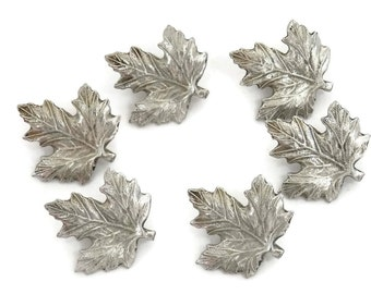 Pewter Leaf Buttons by Christina  Set of 6 Well Detailed Maple Leaves Fall Crafts and Fashion