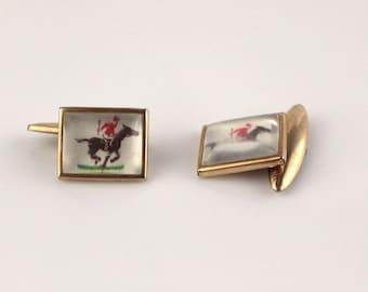 Rectangular Horse Racing Design Cufflinks Square Cuff Links Gold Tone Metal