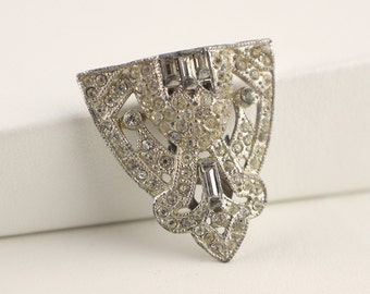 1940s Silver Tone Art Deco Dress Clip Curved Shape with Glass Clear Rhinestone