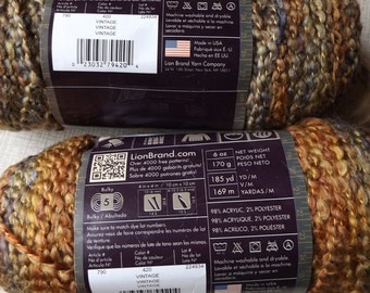 DESTASH - ONE Skein of Lion Brand Homespun Vintage Yarn -  Never Used Acrylic Blend Autumnal Colors Variety of Browns, Blues , Golds,  Reds