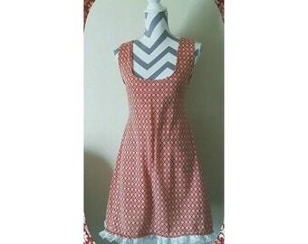 SALE!  Pattern Mori Mini Lace Stretch Knit Dress in Cream & light orange Autumn Winter OOAK