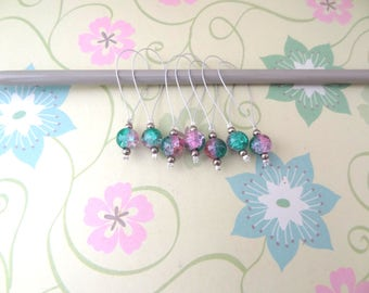 Set of 7 Silver Snag Free Stitch Markers for Knitting with Aqua Green and Pink Glass Beads - Ready to Ship