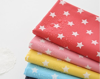 Stars Laminated Fabric, Red, Pink, Yellow, Sky Blue or Blue Gray - By the Yard V01 85715