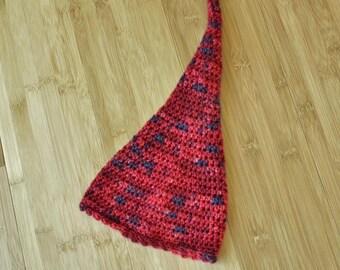 Baby Elfin Hat -Newborn to 3 Months Red Stocking Hat - Infant Hand Crocheted Red Elf Hat - Baby Elfin Hat - Winter Stocking Hat