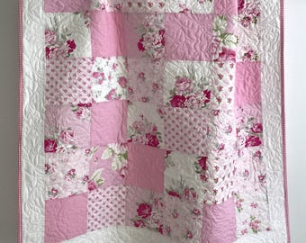 Modern Patchwork Baby Girl Quilt  Lovely Roses Shades of Pink and White