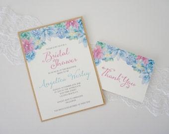 SUCCULENT Invitation, Bridal Shower, Baby Shower, Birthday Invitation, Baptism Invitation, Floral Invitation