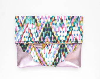 FLOWERET 46 /Colorful clutch purse - leather bag - ikat print purse- tassel pull bag-pink metallic bag- blue black pink white- Ready to Ship