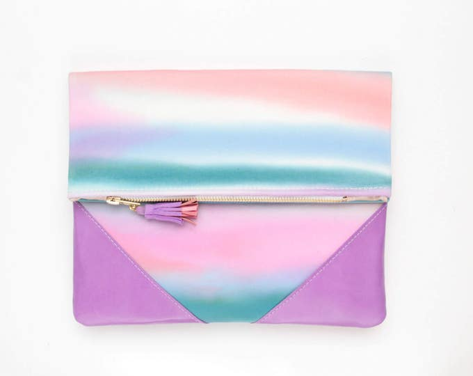PALOMA 7 /Leather clutch purse-dyed cotton bag-fold over purse-hand colored bag-watercolor fabric-leather tassel-multicolored- Ready to Ship