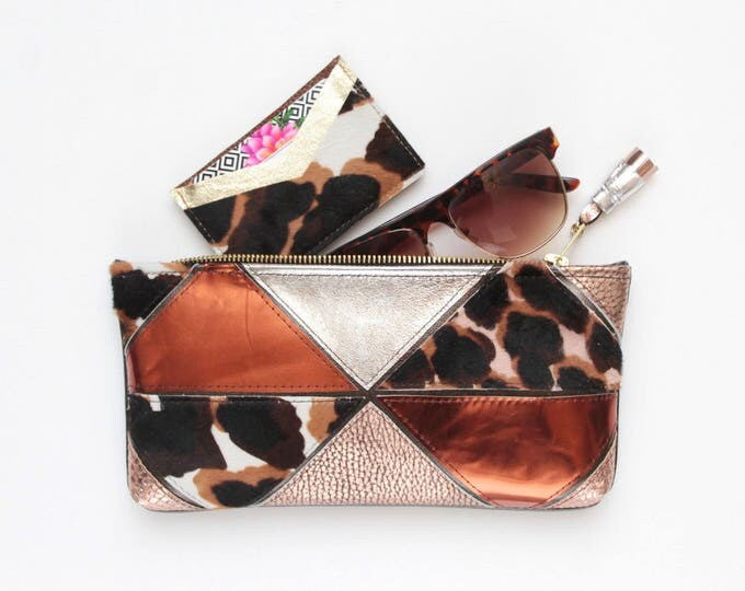 MINI PRISM 48 / Natural leather pouch-makeup bag-cosmetic purse-zipper pouch-animal print-small purse-geometric clutch - Ready to Ship
