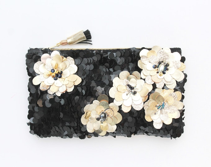 Small couture statement shoulder purse-sequin bag-gold leather flowers-embroidered evening bag-black gold silver-Ready to Ship /DREAM 5