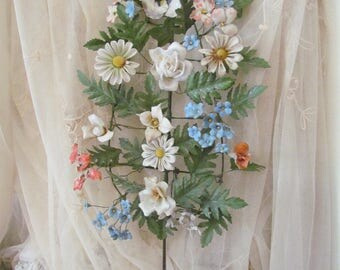Antique Italian French Tole Porcelain Flower Wall Hanging Flower Bouquet Shabby Chippy RARE