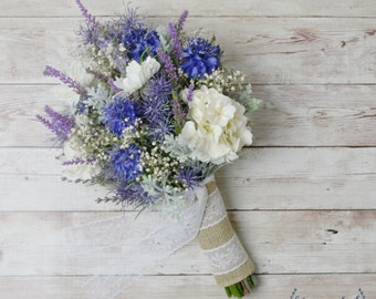 Wildflower Bouquet, Lavender Bouquet, Bridal Bouquet, Rustic Bouquet, Woodland Wedding Bouquet, Cornflower, Blue Bouquet, Wedding Flowers