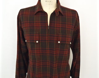 1950s-60s Wool Flannel Popover / vintage County Line Donegal brown, black & red plaid pattern pullover shirt / men's extra large XL