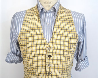 1950s-60s Plaid Waistcoat w/ pearl buttons / vintage ivory white cream corduroy suit vest w/ yellow & black windowpane pattern / men's small