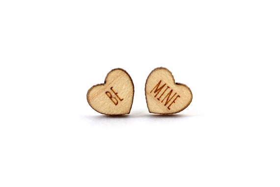 "Valentine's hearts studs with message ""Be mine"" - mismatched earrings - lasercut maple wood - hypoallergenic surgical steel posts"