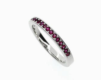 Ruby half eternity ring, white gold, yellow gold, rose gold, pink ruby ring, ruby wedding band, ruby engagement, nickel free, anniversary