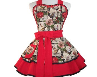 Womens Apron, Rooster Apron, Cute Apron
