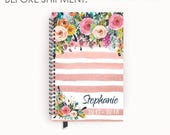 Personalized Planner 2017 - 2018 Calendar Agenda with Watercolor Floral on Blush Pink Stripes