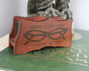 """1960s eyeglass holder, vintage cats eye glasses eye glass holder, vintage eyeglass holder, """"here they are looking at you"""""""