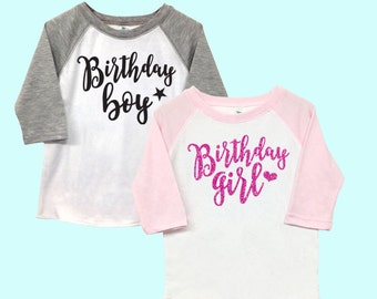 Birthday Boy and Birthday Girl Poly Cotton 3/4 Raglan Sleeve Baseball Shirt - Kid's Toddler Shirt