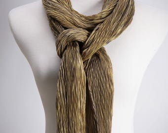 Pleated Silk Scarf/Shibori Shawl in Gold
