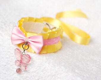 Fluttershy - MLP inspired collar for pet play, age play, bdsm, lolita, ddlg, littlespace