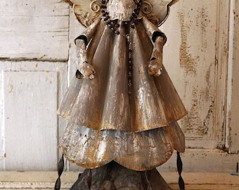 Painted metal angel statue Distressed gray-taupe French farmhouse angelic figure Santos inspired salvaged art home decor anita spero design