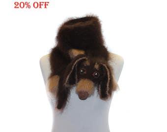 SALE 20 % OFF Knitted Scarf dog dachshund / Fuzzy Soft Scarf / brown biege  / Dog scarf / knited dog scarf / animal scarf / Dog Breed Scarf
